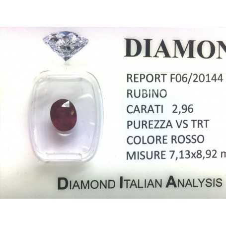 RUBY RED, ON the CERTIFICATE 2.96 CARATS, VS clarity, TRT and BLISTER