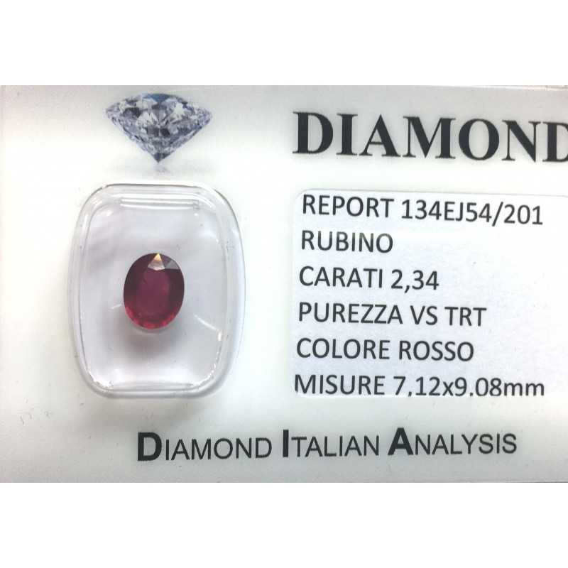 RUBY RED, ON CERTIFIED 2.34 CARAT VS clarity TRT in BLISTER