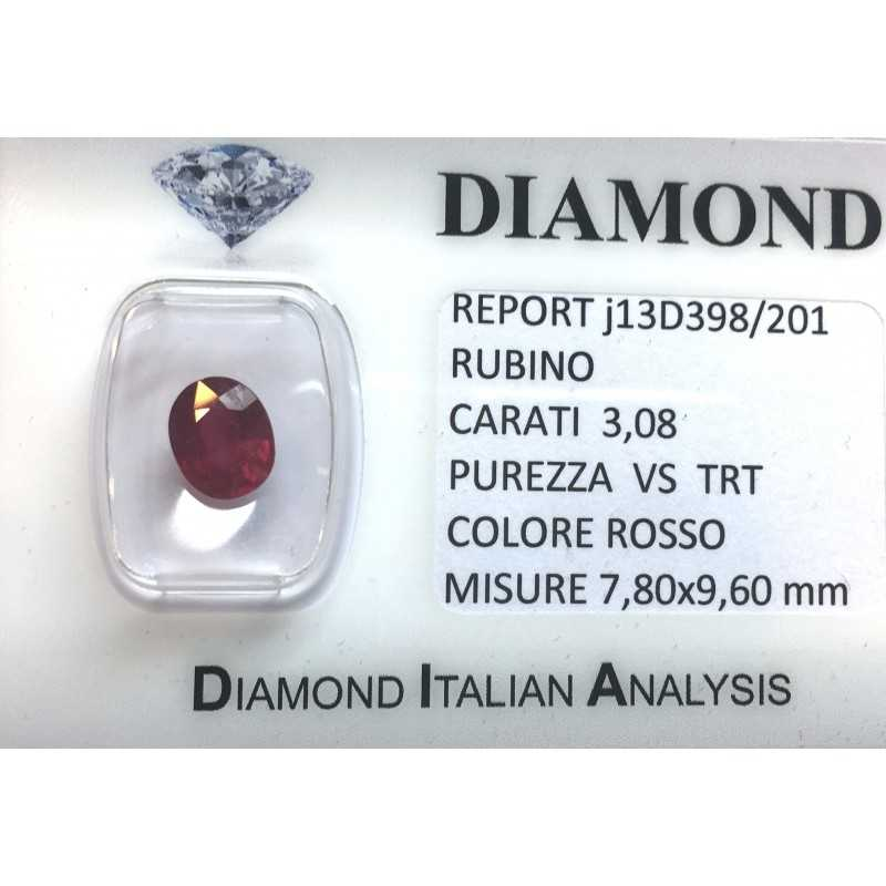 RUBY RED, ON the CERTIFICATE 3.08 CARATS, VS clarity, TRT and BLISTER