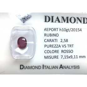 RUBY RED, ON the CERTIFICATE 2.58 CARATS, VS clarity, TRT and BLISTER
