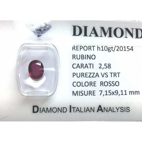 Bright red ruby certified 2.58 carat purity VS TRT in BLISTER
