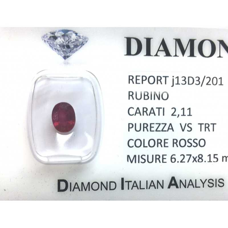 RUBY RED, ON CERTIFIED 2.11 CARAT VS clarity TRT in BLISTER