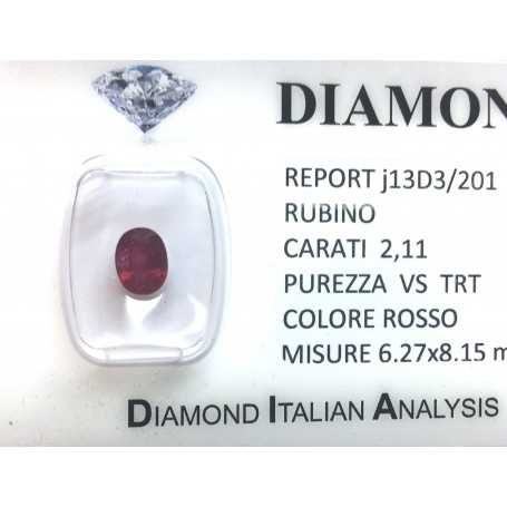 Bright red ruby certified 2.11 carat purity VS TRT in BLISTER