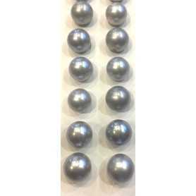 PEARL GRAY CLEAR SILVER TAHITI 9.00 mm . PLATINUM PAIR