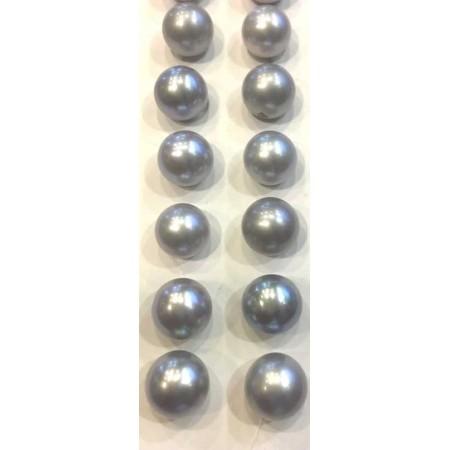Light grey silver Tahitian pearls 9.00 mm . PLATINUM COUPLE