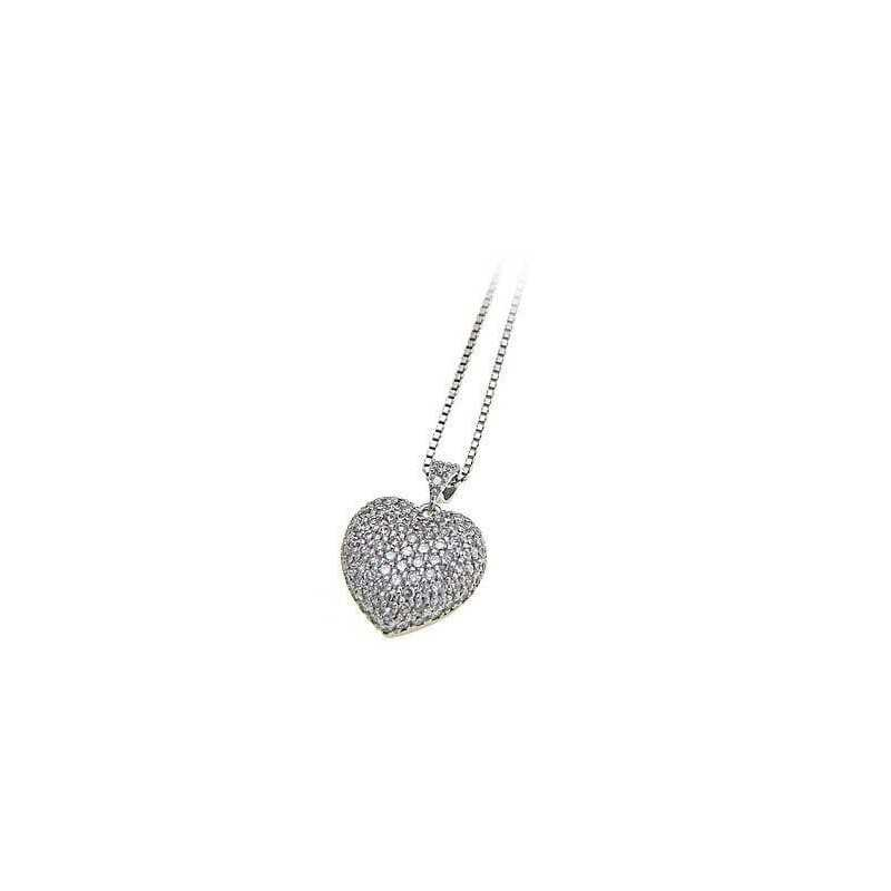 PENDANT AND CHAIN HEART RHODIUM-PLATED SILVER GOLD JEWELRY DIAMONDS RUSSIAN LAB