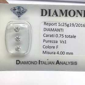 DIAMOND Trilogy 0,75 CARAT Total, VS clarity, 1 COLOR F