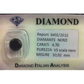 DIAMANTE NERO CERTIFICATO 4.70 CARATI PUREZZA VS in BLISTER