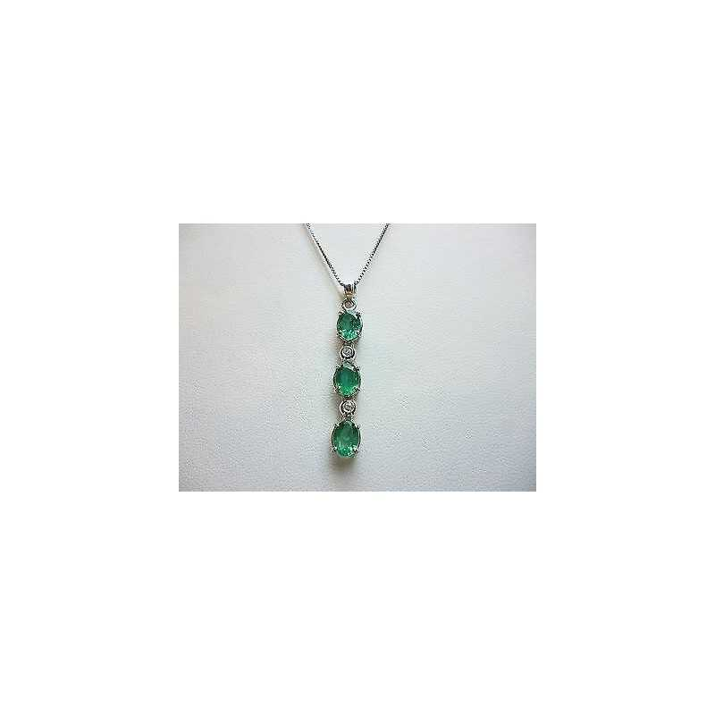 PENDANT IN GOLD 18 CT EMERALDS from COLUMBIA AND DIAMONDS 50% DISCOUNT 2.50 carats