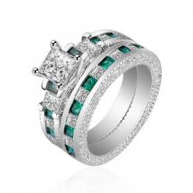 RING SILVER RHODIUM-plated 18K gold with GEMSTONES - SWS0007