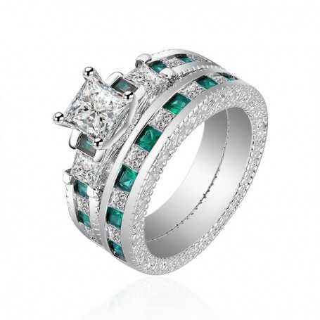 18K rhodium silver ring with gems-SWS0007