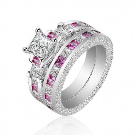 18K rhodium silver ring with gems-SWS0009