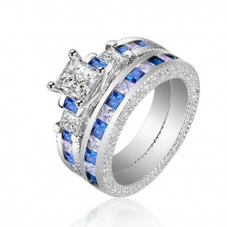 18K rhodium plated silver ring with gems-SWS0008