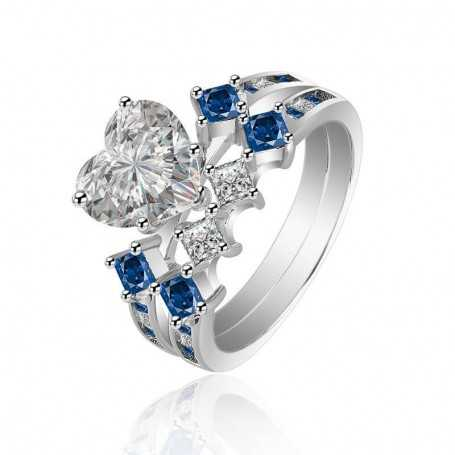 18K rhodium plated silver ring with gems-SWS0011