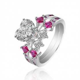 RING SILVER RHODIUM-plated 18K gold with GEMSTONES - SWS0012