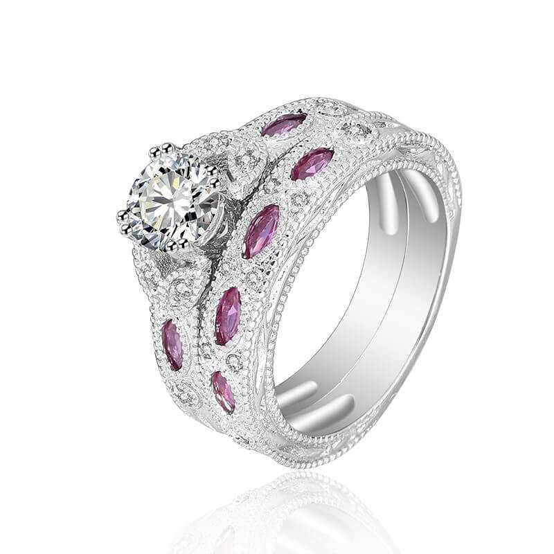 RING SILVER RHODIUM-plated 18K gold with GEMSTONES - SWS0018