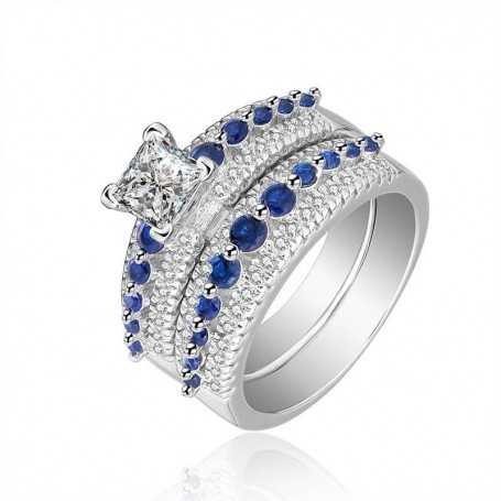 18K rhodium silver ring with gems-SWS0020