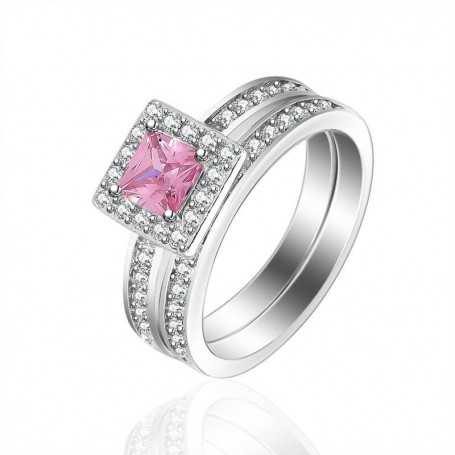 18K rhodium plated silver ring with gems-SWS0022