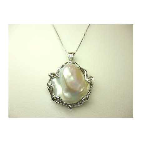 PEARLS PENDANT SCARAMAZZE QUALITY PLATINUM WITH BEAD CHAIN, SILVER JAPANESE