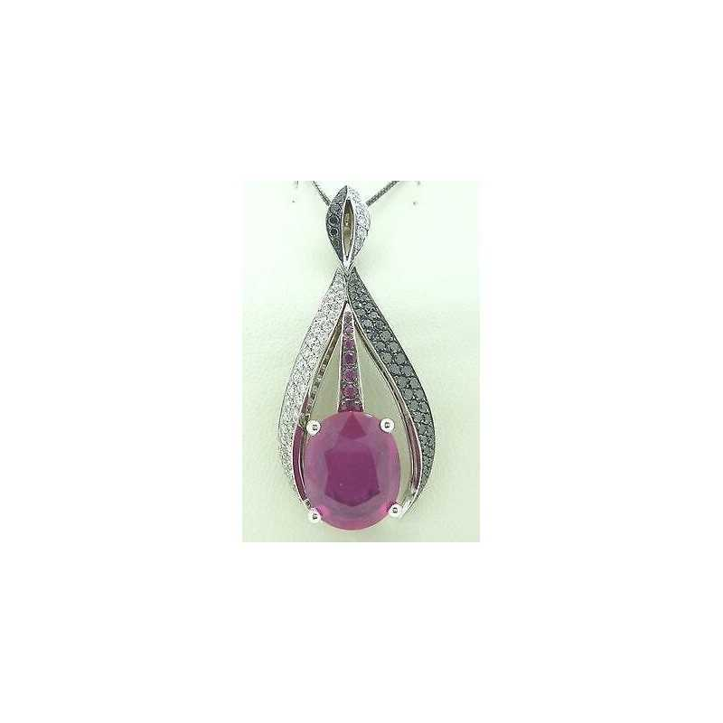 PENDENTIF RUBIS DIAMANTS EN OR 18 KT GR. 10