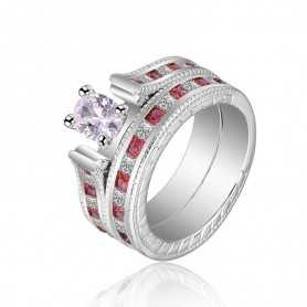 RING SILVER RHODIUM-plated 18K gold with GEMSTONES - SWS0042