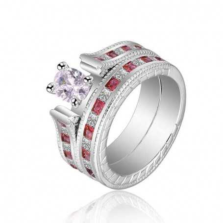 18K rhodium plated silver ring with gems-SWS0042