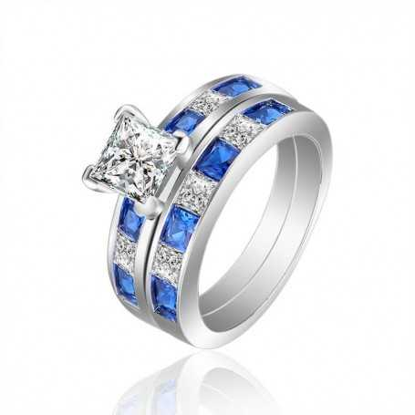 18K rhodium plated silver ring with gems-SWS0060