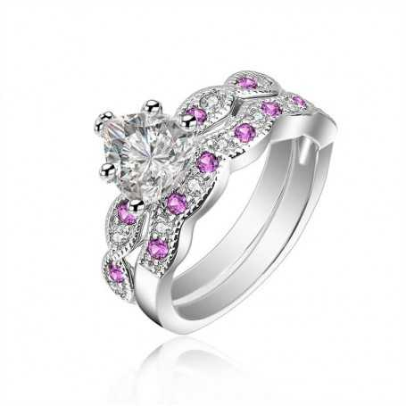 18K rhodium plated silver ring with gems-SWS0061