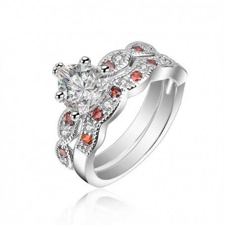 18K rhodium plated silver ring with gems-SWS0062