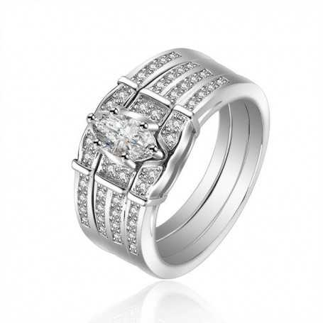 18K rhodium silver ring with gems-SWS0080
