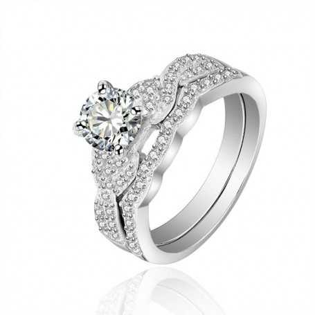 18K rhodium plated silver ring with gems-SWS0081
