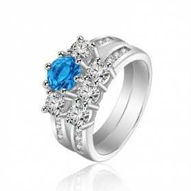 RING SILVER RHODIUM-plated 18K gold with GEMSTONES - SWS0083