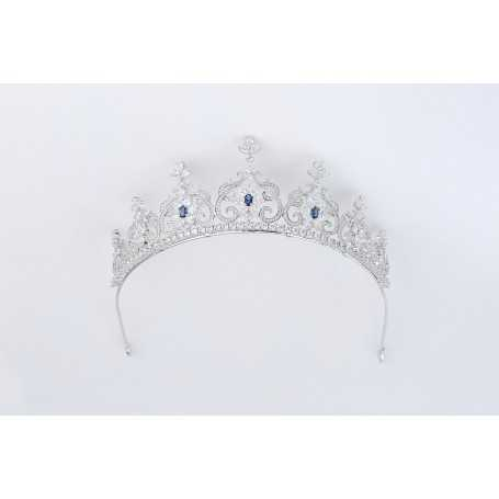 TIARA in SILVER with RHODIUM-plated 18K gold and GEMS - MOD.1