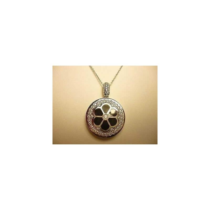 CIONOLO NECKLACE SILVER RHODIUM-PLATED WHITE GOLD DIAMONDS RUSSIAN LAB