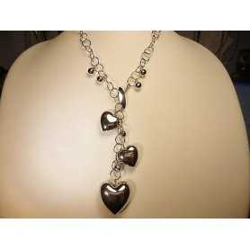 CIONOLO NECKLACE SILVER RHODIUM-PLATED WHITE GOLD HEART 38 GRAMS