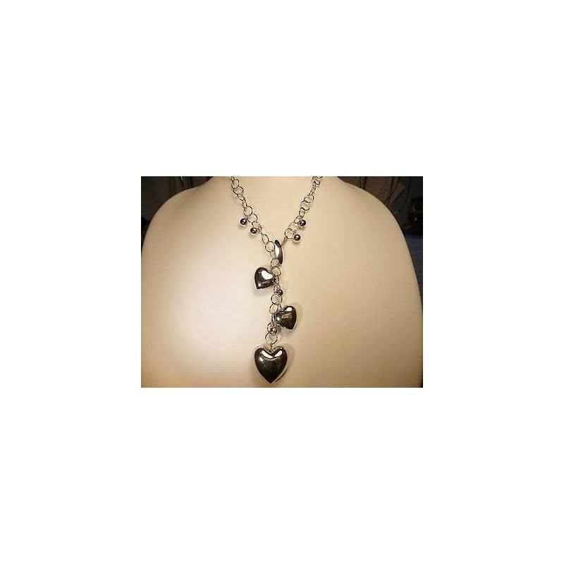 CIONOLO NECKLACE SILVER RHODIUM-PLATED WHITE GOLD HEART 38 GRAMS
