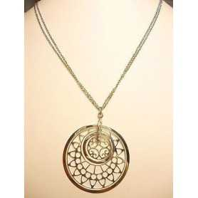 PENDANT NECKLACE SILVER RHODIUM-PLATED WHITE GOLD SUN 13.60 GRAMS