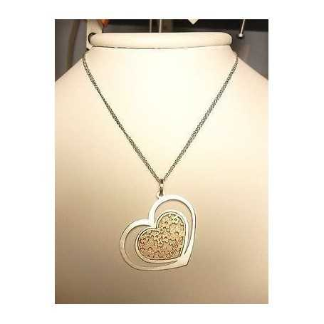 PENDANT NECKLACE SILVER RHODIUM-PLATED WHITE GOLD HEART