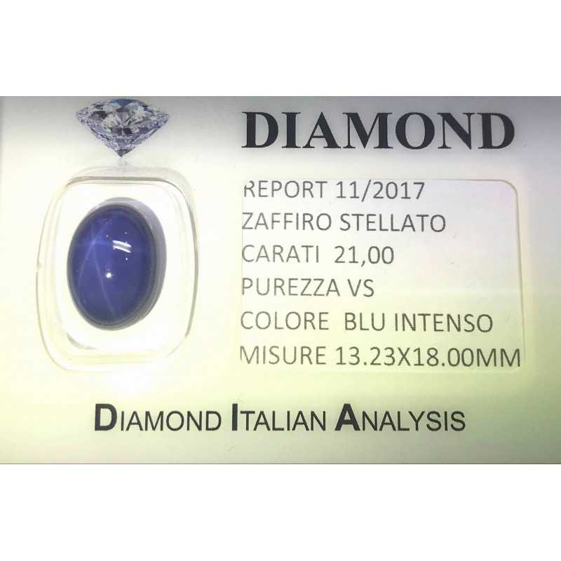 STARRY SAPPHIRE BLUE CERTIFIED 21.00 CARAT VS clarity, in BLISTER