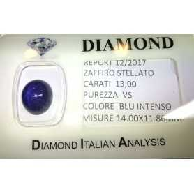 STARRY SAPPHIRE BLUE CERTIFIED 13.00 CARAT VS clarity, in BLISTER