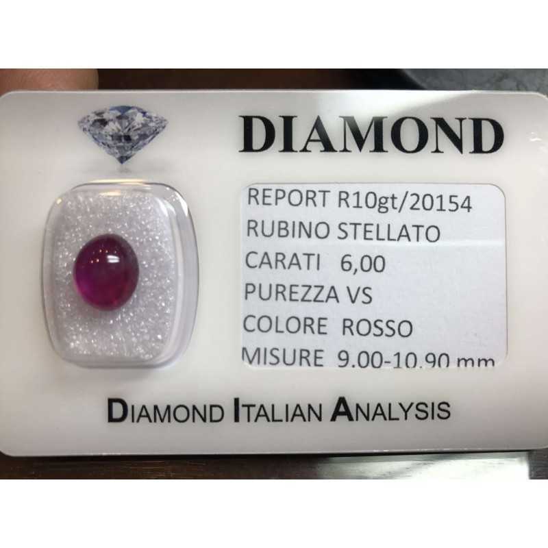 Star RUBY RED CERTIFIED 6.00 CARAT in BLISTER