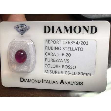 Star RUBY RED, ON the CERTIFICATE OF 6.20 CARAT in BLISTER