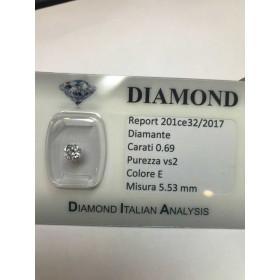Diamante 0.69 carati vs2 E color lotot 1.00 0.75 0.50