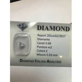 Diamante 0.69 carati vs2 E color lotto 1.00 0.75 0.50