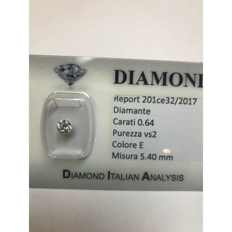 Diamante 0.64 carati vs2 E color lotot 1.00 0.75 0.50 blister