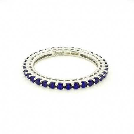 Eternity ring in silver with sapphires