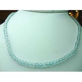 NECKLACE AQUAMARINE CLASP SILVER 5 MM AAA+