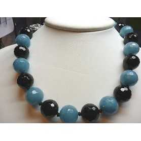 NECKLACE of AQUAMARINE and BLACK ONYX with SILVER CLOSURE