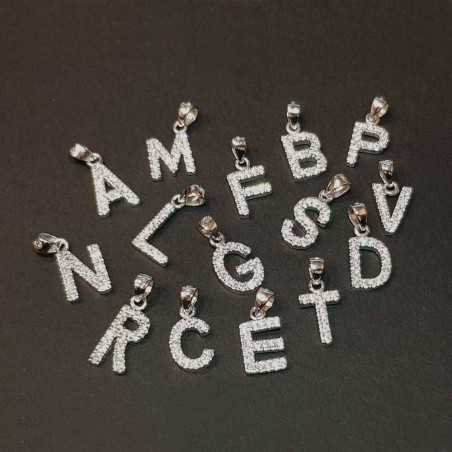 NECKLACE WITH LETTER IN SILVER and cubic ZIRCONIA AS DIAMONDS