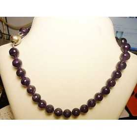 Necklace AMETHYST EXTRA VIOLET with SILVER CLOSURE